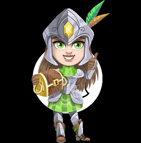 Female Knight with Helmet Cartoon Vector Character AKA Knightalia Beauty-Mark