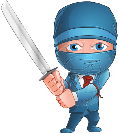 Businessman dressed as Ninja Cartoon Vector Character AKA Hideki