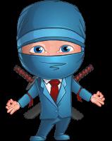 Businessman dressed as Ninja Cartoon Vector Character AKA Hideki