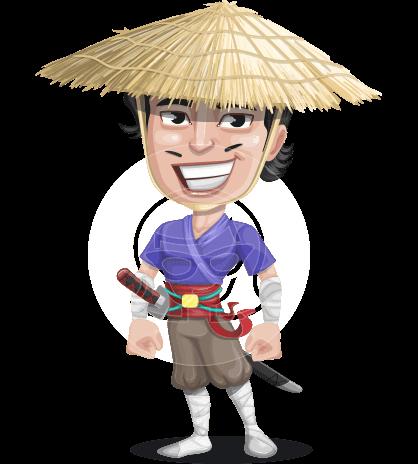 Samurai with Straw Hat Cartoon Vector Character AKA Akechi
