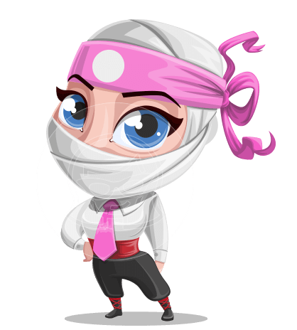 Girl with Ninja Mask Cartoon Vector Character AKA Matsuko