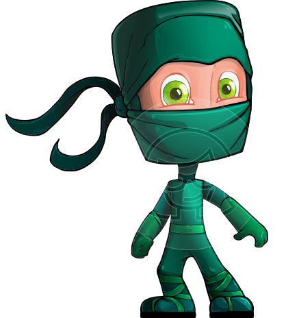 Green Ninja Cartoon Vector Character AKA Takumi