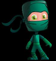 Green Ninja Cartoon Vector Character AKA Takumi
