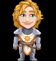 Blonde Prince with Armor Cartoon Vector Character AKA Edgar Medieval