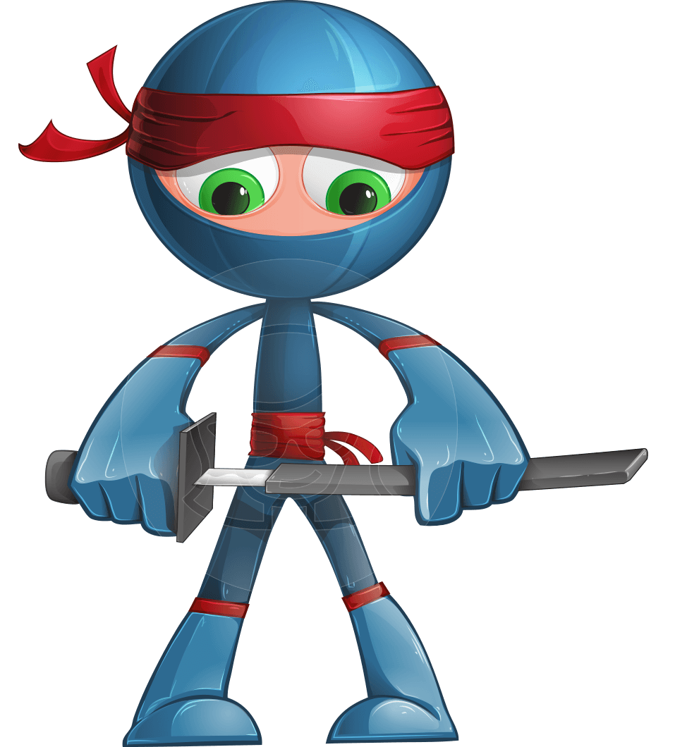 Cool Ninja Cartoon Vector Character AKA Sachi the Flexible