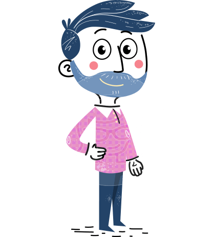 Flat Hand Drawn Man Cartoon Vector Character AKA Jonathan