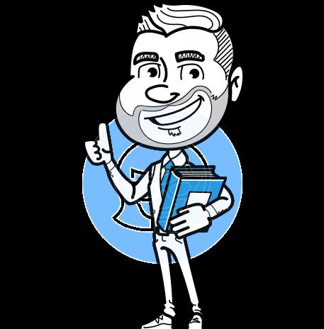 Flat Linear Man Cartoon Vector Character AKA Bob Beardman