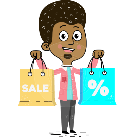 Flat Hand Drawn African American Man Cartoon Vector Character AKA Christopher