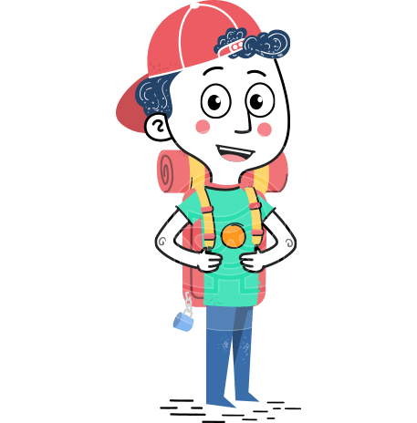 Cute Flat Hand Drawn Kid Cartoon Vector Character AKA Gabriel Cap