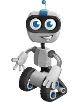 Robot on Wheels Cartoon Vector Character AKA ROWAN