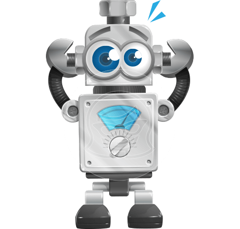 Vintage Robot Cartoon Vector Character AKA Bolty
