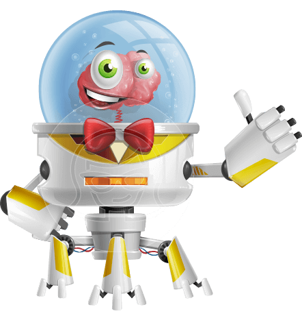 Robot Brain Cartoon Vector Character AKA TEDD