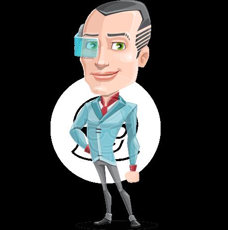 Innovative Technology Man Cartoon Vector Character AKA Shane