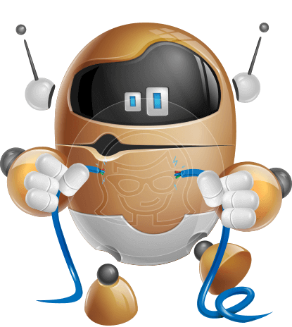 Artificial Intelligence Robot Cartoon Vector Character AKA Ellyps-O