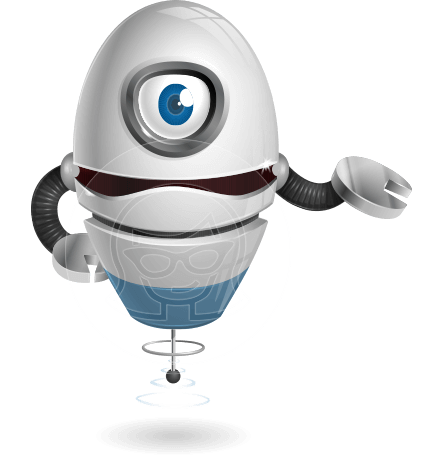 One Eyed Robot Cartoon Vector Character AKA Cyclop Eddy 3000