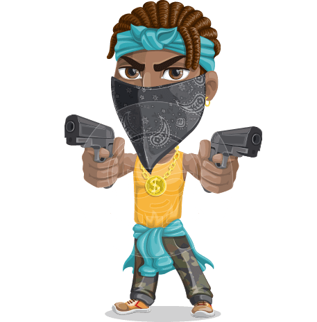 Street Gangster Cartoon Vector Character AKA Jay A