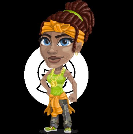 Female Urban Gangster Cartoon Vector Character AKA Briona