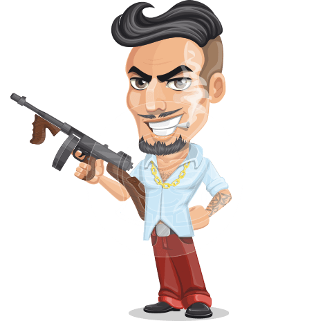 Bad Guy Cartoon Vector Character AKA Jose Dangerous