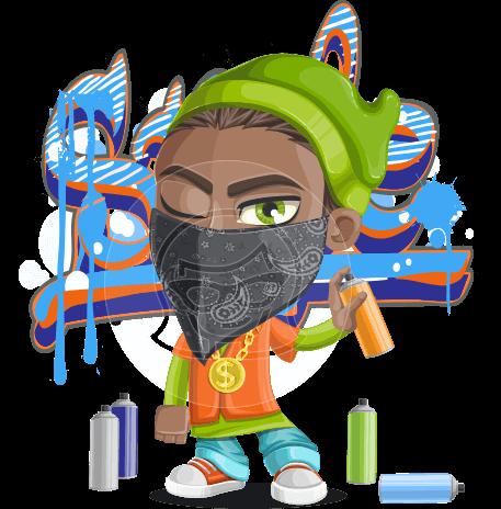 Cute Hip Hop Boy Cartoon Vector Character AKA Tray
