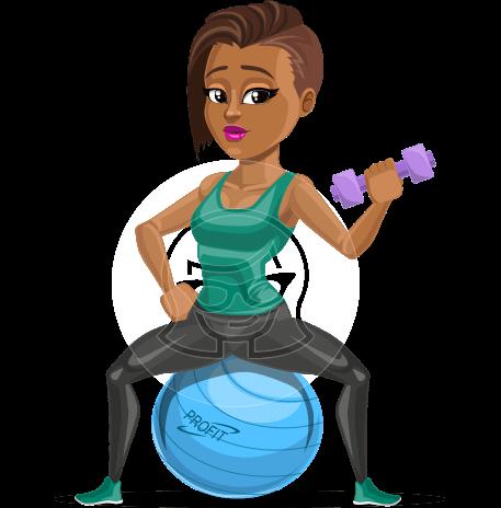 African American Fitness Girl Cartoon Vector Character AKA Alicia