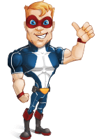 Superhero with Mask Cartoon Vector Character AKA Buff Jaxon