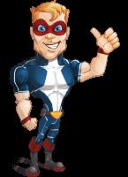 Superhero with Mask Cartoon Vector Character AKA Buff Jaxon