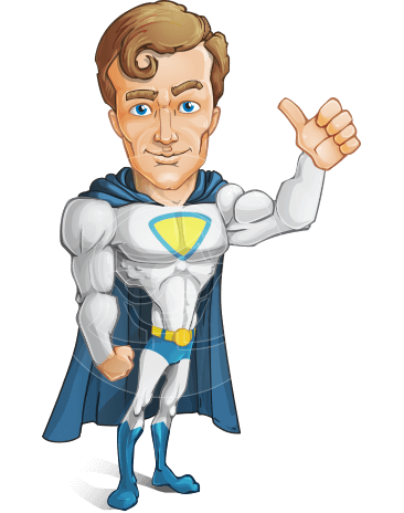 Hero with a Cape Cartoon Vector Character AKA Johnny Colossal