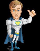Hero with a Cape Cartoon Vector Character AKA Johnny Colossal