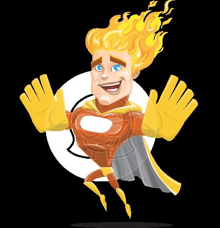 Fire Superhero Cartoon Vector Character AKA Jason Meteoro