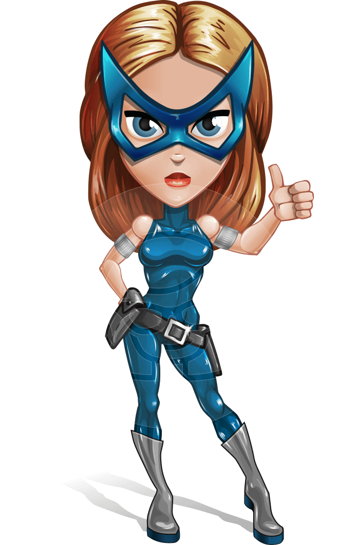 Pretty Superhero Woman with Mask Cartoon Vector Character AKA Angelina Justice
