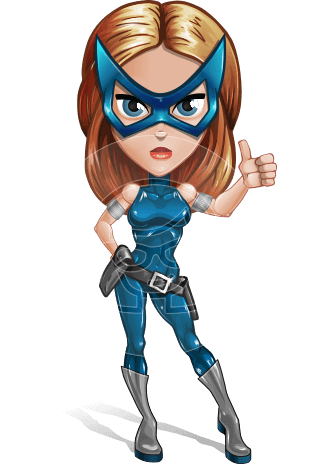 Pretty Superhero Woman with Mask Cartoon Vector Character AKA Angelina Justice