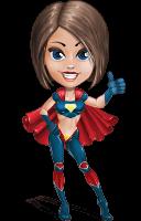 Cute Superhero Girl Cartoon Vector Character AKA Gamma Rey