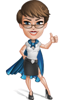 Business Woman Superhero Cartoon Vector Character AKA Madame Supernova