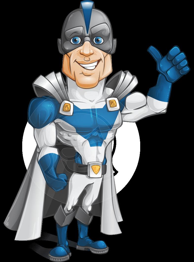 Retired Superhero Cartoon Vector Character AKA Space Centurion