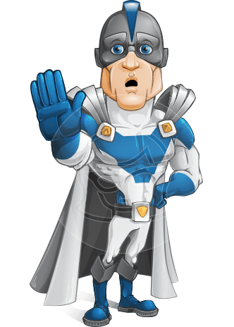 Retired Superhero Cartoon Vector Character AKA Space Centurion