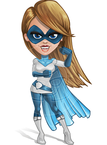 Pretty Superhero Woman Cartoon Vector Character AKA Tina Rocket