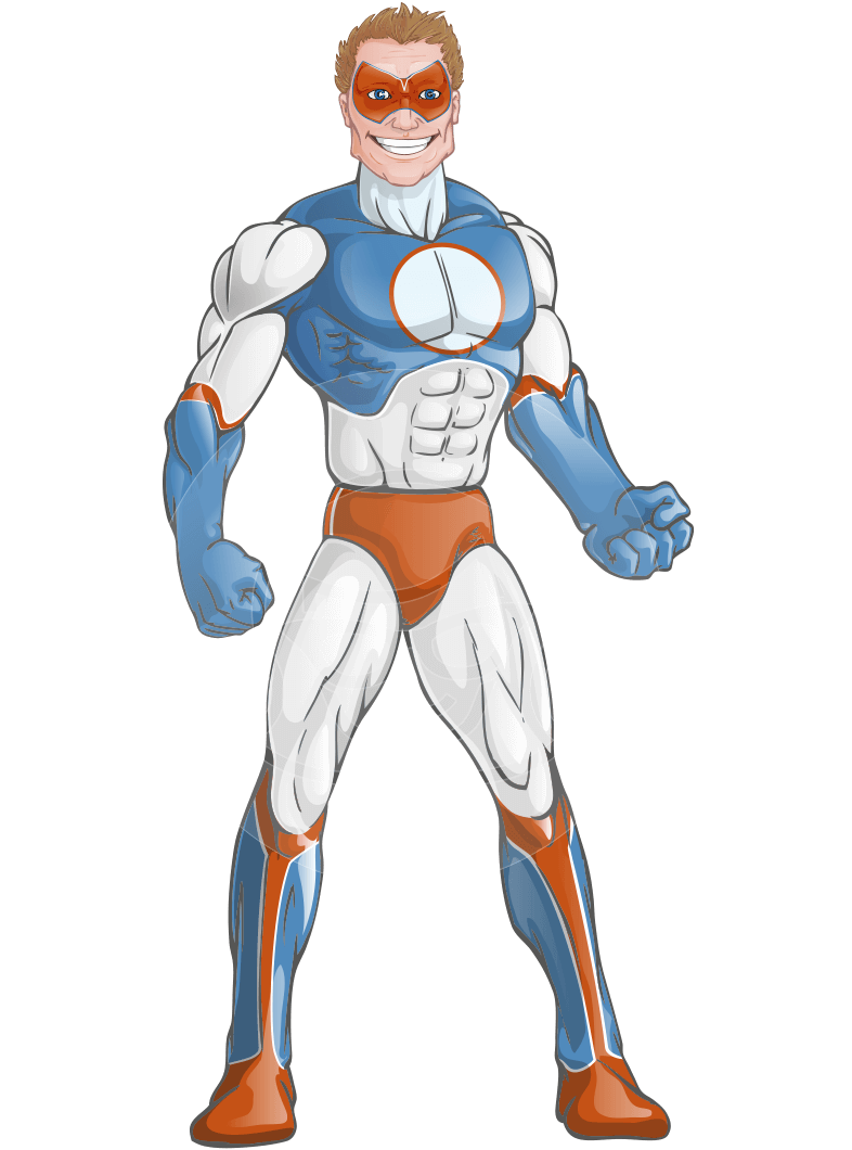 Villain Superhero Cartoon Vector Character AKA Mr. Musclehoff