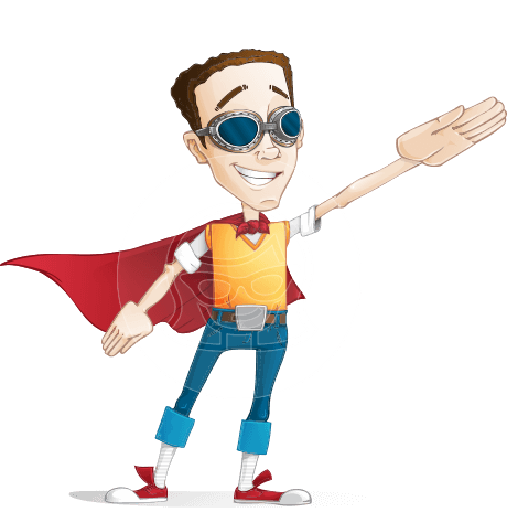 Boy with Superhero Cape Cartoon Vector Character AKA Victor Nerdbolt