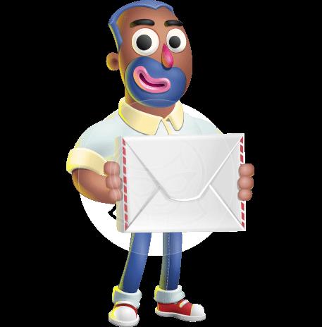 Male African American Cartoon Vector 3D Character AKA Jackson Blue