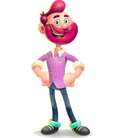 Hipster with Beard Cartoon Vector 3D Character AKA Bruno Smashing