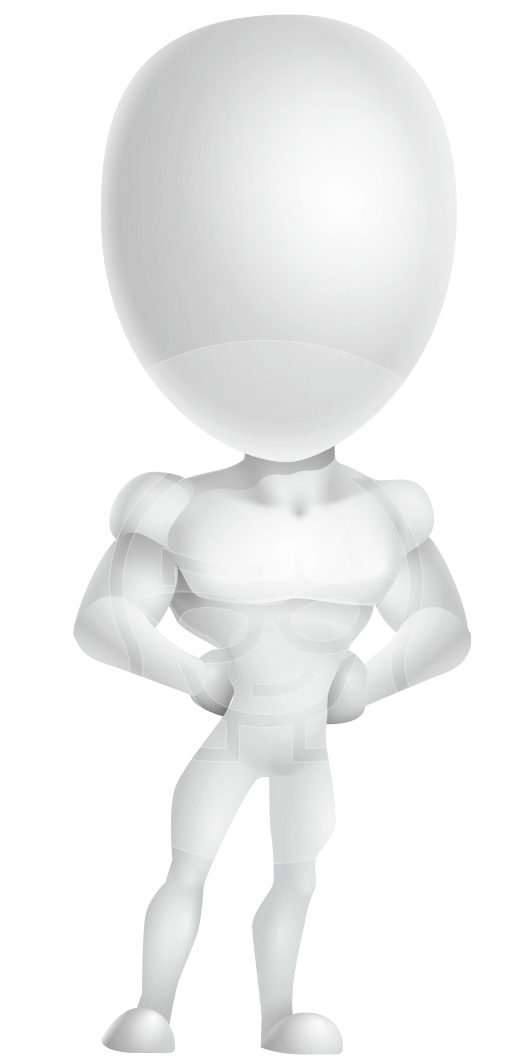 Strong Vector 3D Man with Muscles Cartoon Character AKA Vincent