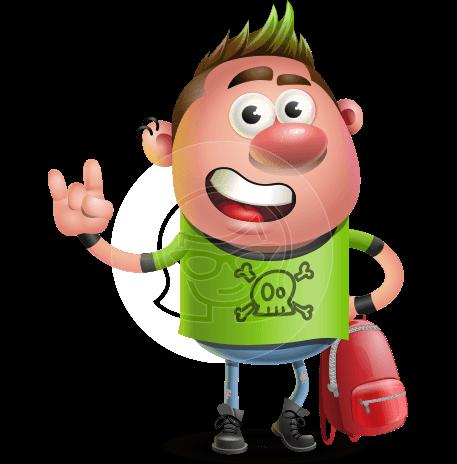Punk Boy Cartoon Vector 3D Character AKA Carter Punk