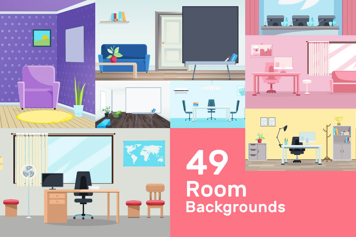 Room Backgrounds Vector Collection