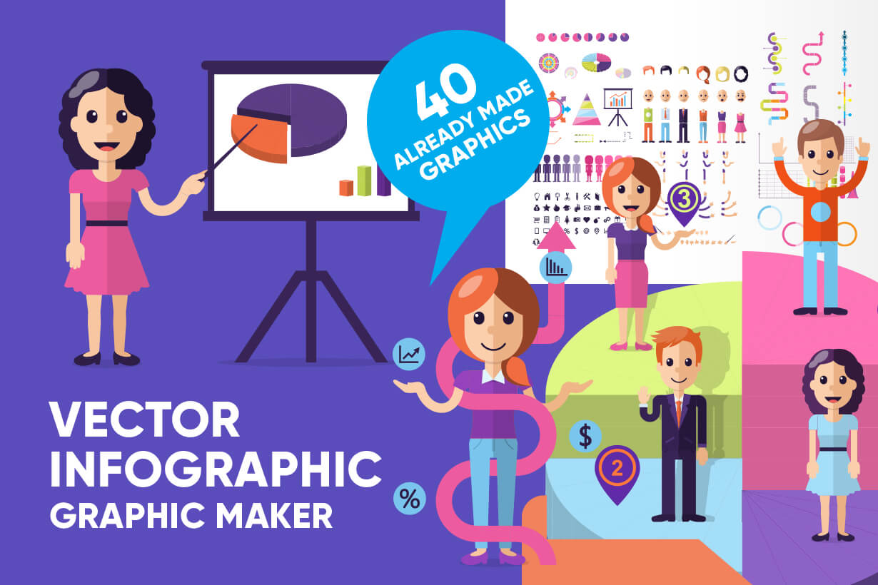 Collection of Infographic elements and parts. Editable vector graphics - examples and templates.