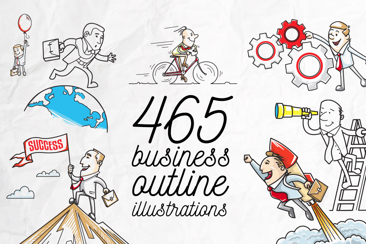 Business vector characters illustrated in the popular outline design trend - a rich collection from GraphicMama