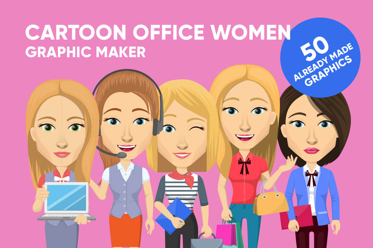 Vector graphic creation kit - all kinds of office women, with different duties, personalities, clothes, hair, accessories. Make a woman creation pack