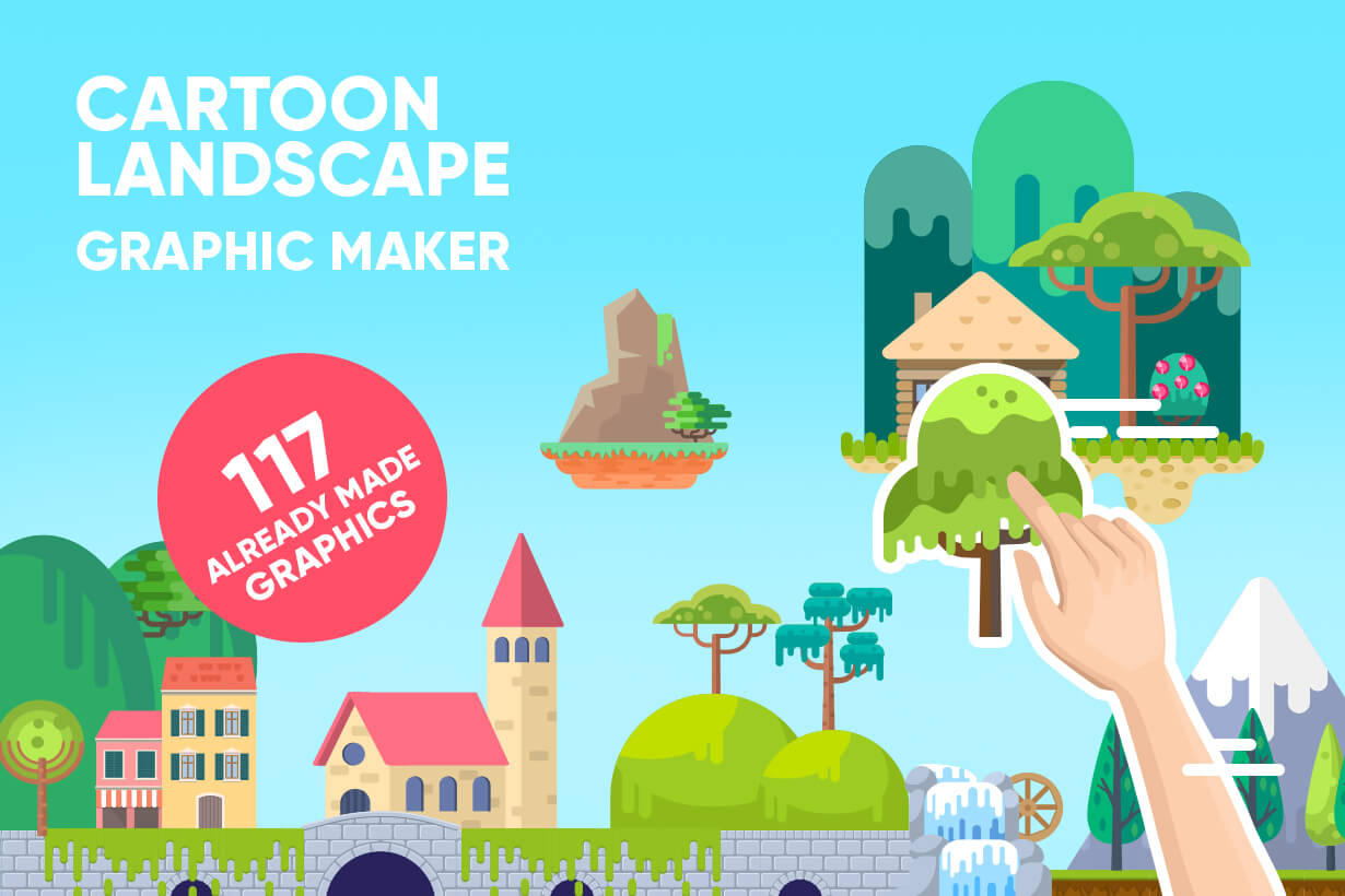 Background Vector Creation pack. A rich collection of flat vector elements for nature landscapes, city skylines, futuristic towns, fantastic scenes.