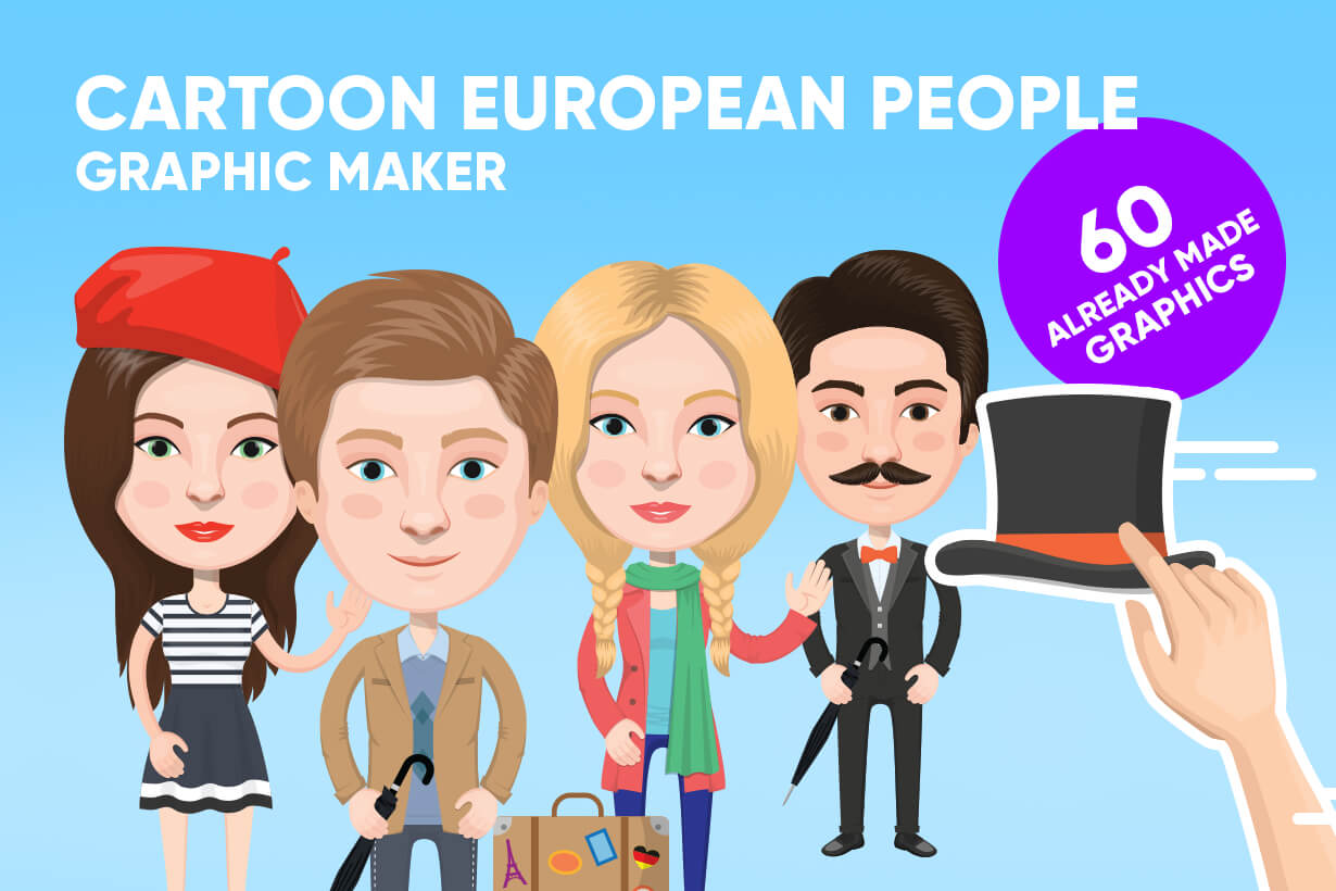 European People Vector Cartoon Graphics Maker