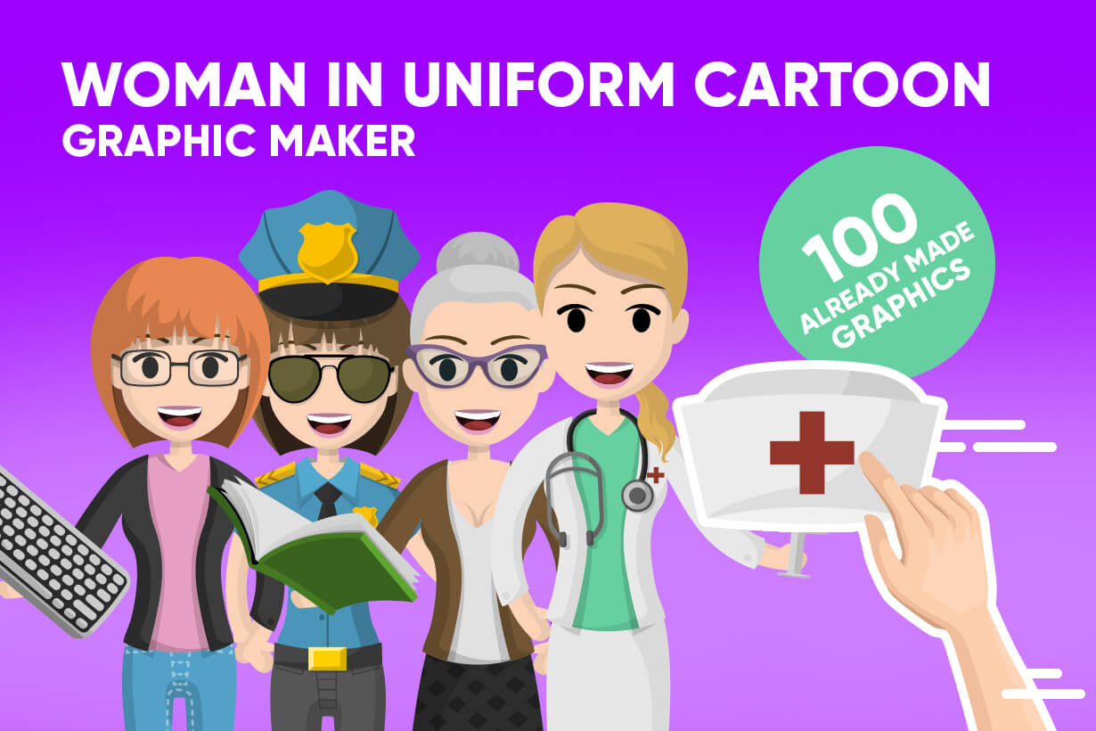 Woman in Uniform Vector Cartoon Graphics Maker