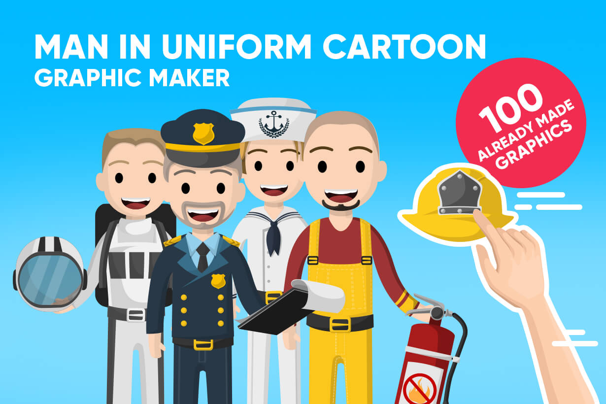 Man in Uniform Vector Cartoon Graphics Maker